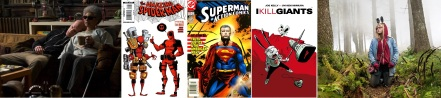 Stills from Deadpool and I Kill Giants, covers of comics written by Joe Kelly