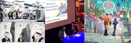 The Umbrella Academy by Way and Ba / Alex Fitch interviews Gerard Way at Thought Bubble (photo by guccist41n) / Doom Patrol by Way and Derington