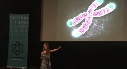 Charlotte Mykura talks at SCI-FI-LONDON 18, photo by Alex Fitch