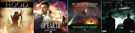 Covers of Hood, The Martian Invasion of Earth, The Coming of the Martians and Osiris