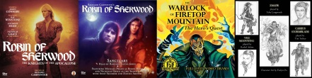 Covers of Robin of Sherwood: Knights of the Apocalypse / Sanctury / Fighting Fantasy: The Warlock of Firetop Mountain