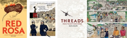 Cover and interior art from Red Rosa / Title page and interior art from Threads by Kate Evans