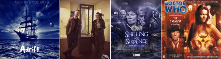 Promotional images for Tales Of A Timelord episodes 2 and 1 / Covers of Shilling and Sixpence Investigate and Doctor Who: The Catalyst by Nigel Fairs