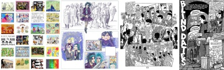 Collection of pages from Draw the Line / work in progress by Myfanwy Tristram / Interior art from Footnotes in Gaza and Palestine by Joe Sacco