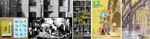 Photo of Anise Gallery / Kiosk zine by Owen D. Pomery / Bleecker Art by Alison Samson / Amiens BD festival posters by Marc-Antoine Mathieu, Guillaume Bouzard and Milo Manara