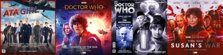 Covers of ATA Girl + Doctor Who audio drams featuring Louise Jameson / Doctor Who and Susan's War featuring Carole Ann Ford