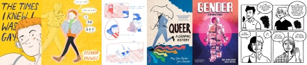 Details from the UK and US covers of The Times I Knew I Was Gay and excerpt from The Ghosts In My House by Eleanor Crewes / Covers of Queer: A Graphic History and Gender: A Graphic Guide by Meg-John Barker and Jules Scheele plus interior art