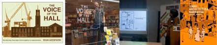 Cover of The Voice of the Hall / Sean Azzopardi drawing on Waterstones Crouch End Window /  Enrique Bordes at TORCH / Cover of Cómic, arquitectura narrativa