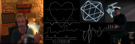 Fell holds a prototype Vecribbon overlay / anticlockwise screen shots from Vecribbon, Raiding Party, Holzer Vectrex generated hand and polyhederon / Derek Holzer at Zefreb Vector Hack Festival 2018